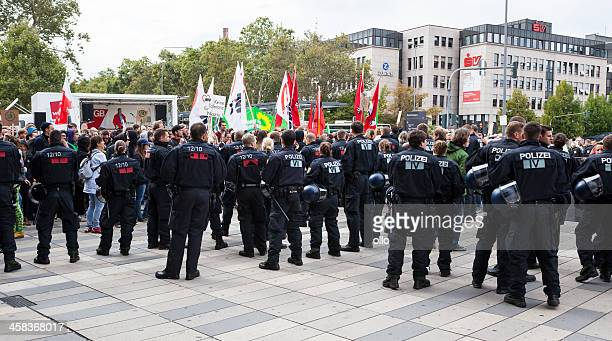 protests against npd election campaign - furious stock pictures, royalty-free photos & images