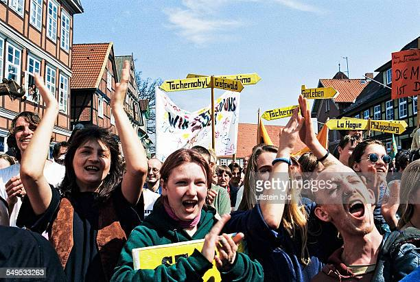 Protests against the transport of containers carrying highly radioactive nuclear waste Castortransport in 1997 in Lower Saxony Germany Antinuclear...