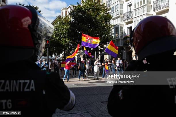 Protests against the visit of King Felipe and Queen Letizia to the San Prudencio Foundation on July 17 2020 in VitoriaGasteiz Álava Spain The visit...