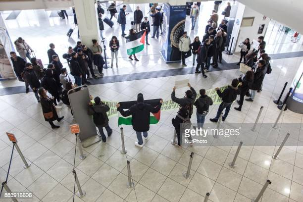 Protests by peoples of the social groups at the entrance to the Capodichino airport for Leila Khaled Naples Italy December 01 Leila Khaled a member...