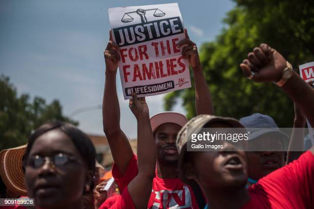 Protests during the testimony of former Gauteng Health MEC Qedani Mahlangu at the Life Esidimeni arbitration hearings on January 22 2018 in...