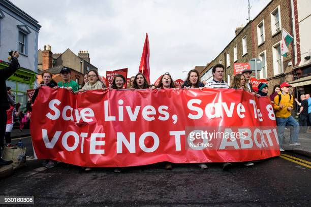 Protests from around the Ireland with antiabortion banner during the AllIreland Rally for Life march to Save the 8th amendment to the Irish...