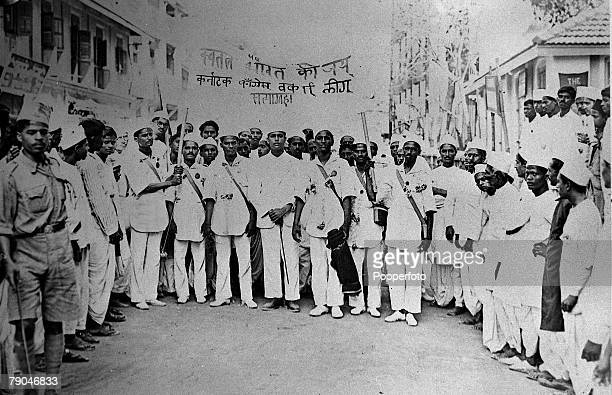 circa 1930's Supporters of Mahatma Gandhi about to start the Salt March a protest against a British law which stated that only the British could...