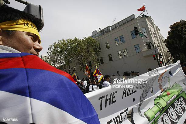 Pro-Tibet protest hold a peaceful demonstration outside the Chinese consulate on April 8, 2008 in San Francisco, California. The Olympic flame...
