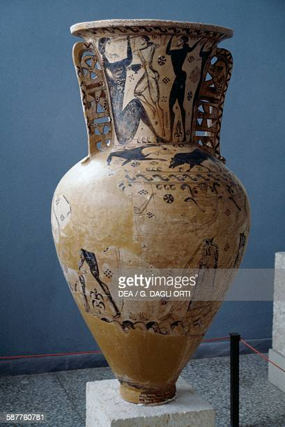 Protoattic amphora of Eleusis 660 BC painting on the neck depicting the blinding of Polyphemus by the Painter of Polyphemus Greece Greek civilisation...