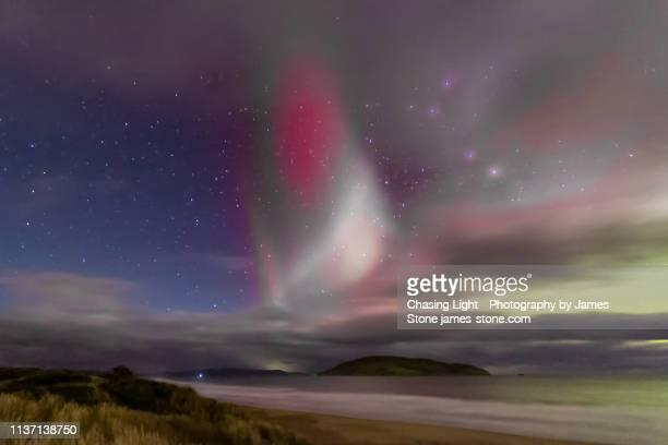 proton arc / sar arc / steve aurora phenomenon - light natural phenomenon stock photos and pictures
