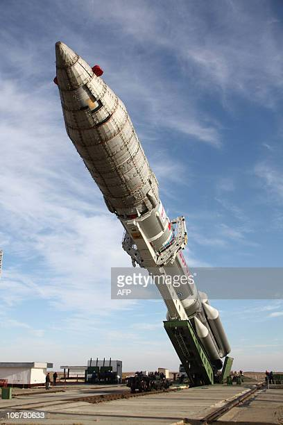 Proton launch vehicle with SkyTerra 1 telecommunications satellite is seen at the Baikonur cosmodrome on November 11 after being rolled out from the...