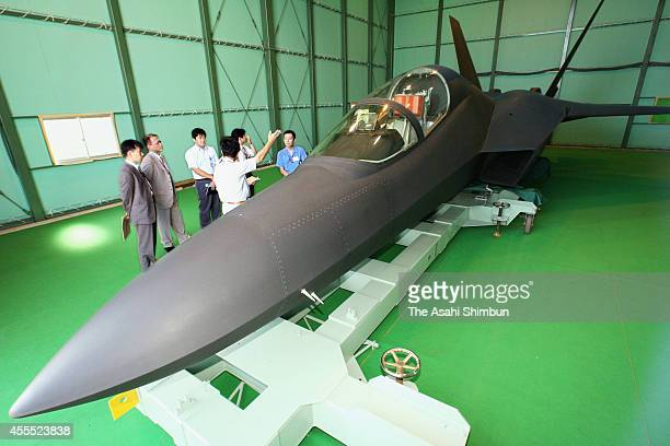 A prototype model of Mitsubishi ATDX Shinshin an experimental aircraft for testing advanced stealth fighter technologies developed by the Japanese...
