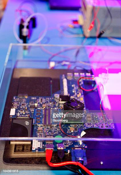A prototype of a solar development laptop computer is displayed at the Intel Labs Pavilion during the Intel Developer Forum 2010 in San Francisco...