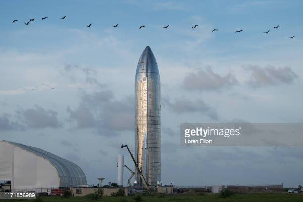 Prototype of SpaceXs Starship is pictured at the company's Texas launch facility on September 28, 2019 in Boca Chica near Brownsville, Texas. The...