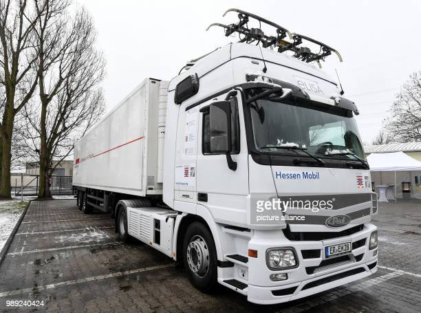 A prototype of the new cable truck is shown in Frankfurt am Main Germany 18 December 2017 The constructionm of the first testing route for cable...