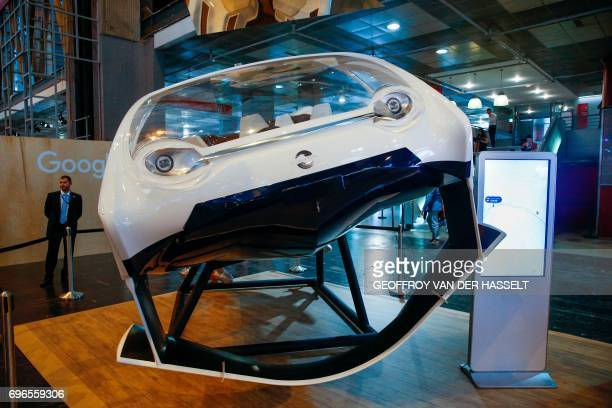 A prototype of the Sea Bubbles Flying River Taxi is pictured during the Viva Technology event dedicated to startup development innovation and digital...