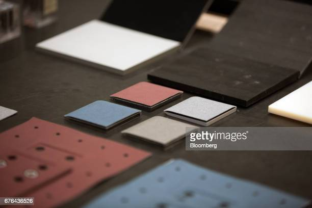 Prototype pieces for Surface Laptop computers are displayed at the hardware lab of the Microsoft Corp. Main campus in Redmond, Washington, U.S., on...