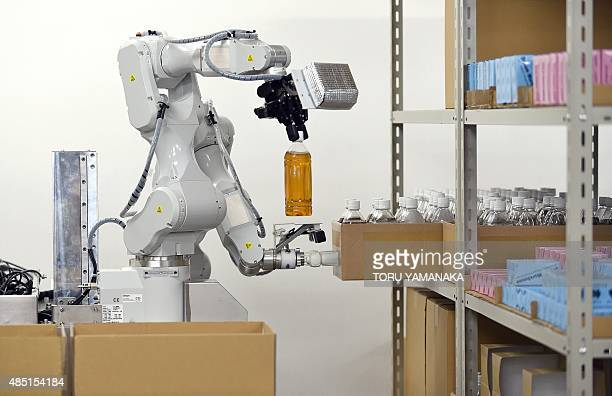 Prototype robot with two arms, which was developed by Japan's comprehensive electrical machinery manufacturer Hitachi for distribution warehouses,...