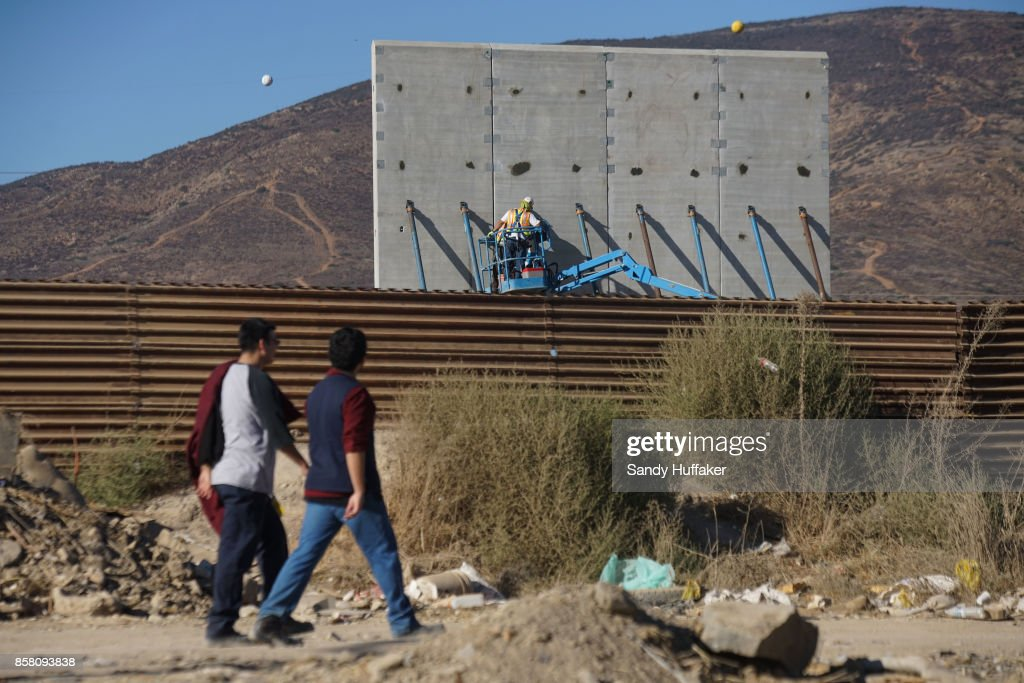 Prototypes Of President Trump's Proposed Border Wall Tested Along Mexico / U.S. Border : News Photo