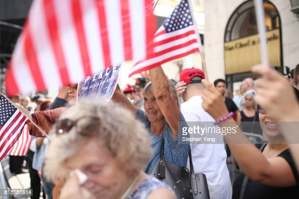 ProTrump counter protest near an antiTrump protest outside of Trump Tower on 5th Avenue on July 15 2017 in New York City