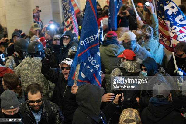 Pro-Trump mob breaks into the U.S. Capitol on January 06, 2021 in Washington, DC. Congress held a joint session today to ratify President-elect Joe...