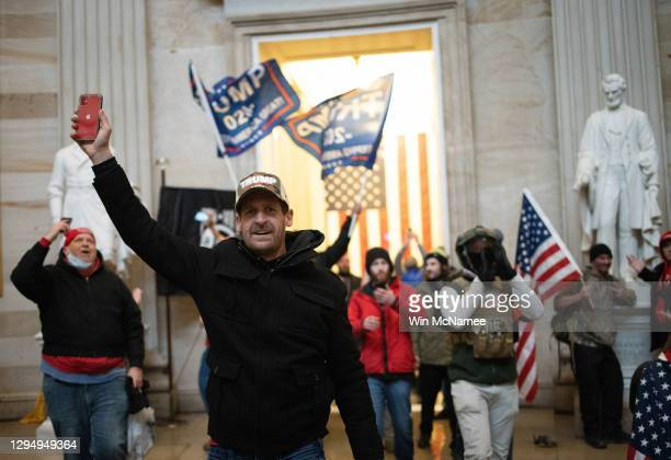 Pro-Trump mob enters the Roturnda of the U.S. Capitol Building on January 06, 2021 in Washington, DC. Congress held a joint session today to ratify...