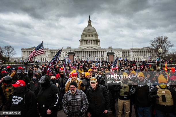 Pro-Trump protesters gather in front of the U.S. Capitol Building on January 6, 2021 in Washington, DC. A pro-Trump mob stormed the Capitol, breaking...