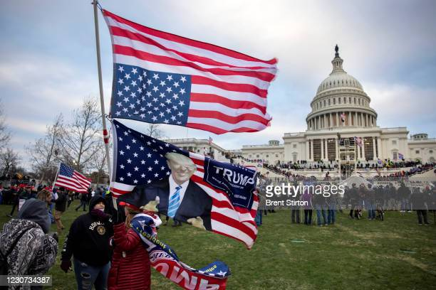 Pro-Trump protesters gather in front of the U.S. Capitol Building on January 6, 2021 in Washington, DC. Trump supporters gathered in the nation's...