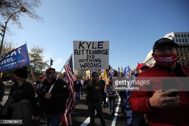 """Pro-Trump protesters gathered during the """"Million MAGA March"""" from Freedom Plaza to the US Capitol in Washington, DC, United States on November 14,..."""
