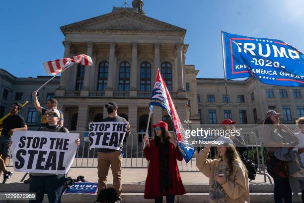 Pro-Trump protesters rally against the results of the U.S. Presidential election outside the Georgia State Capitol on November 18, 2020 in Atlanta,...