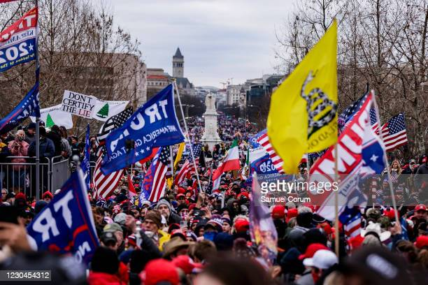 Pro-Trump supporters gather outside the U.S. Capitol following a rally with President Donald Trump on January 6, 2021 in Washington, DC. Trump...