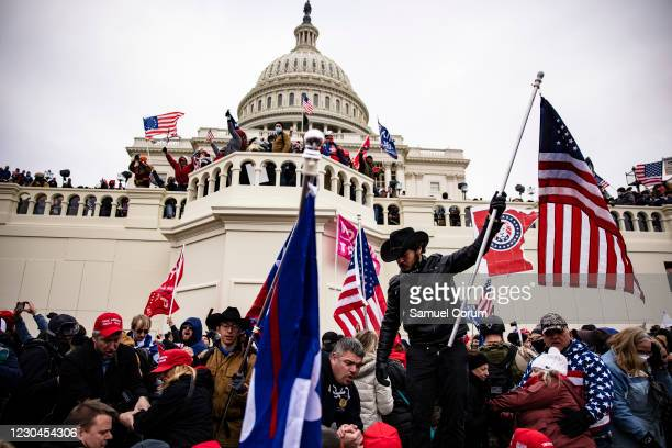 Pro-Trump supporters storm the U.S. Capitol following a rally with President Donald Trump on January 6, 2021 in Washington, DC. Trump supporters...