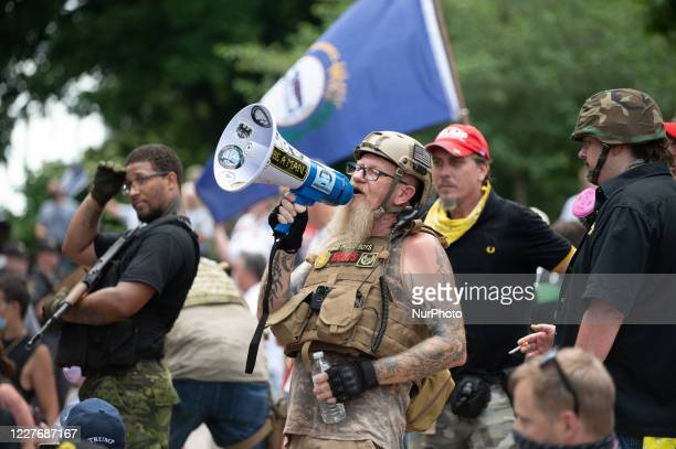 Proud Boys heckle Black Lives Matter protestors in Columbus, Ohio, US, on July 18th, 2020.