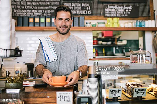 proud coffee shop owner - males stock pictures, royalty-free photos & images
