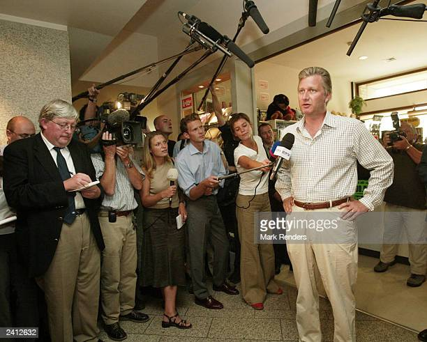 Proud father Prince Philippe speaks to the press at Erasmus hospital on August 20 2003 in Brussels Belgium Philippe's wife Princess Mathilde gave...