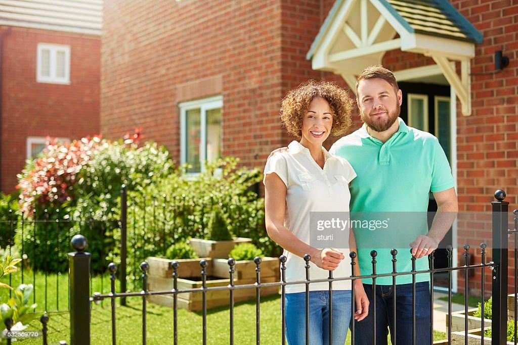 proud homeowner couple : Stock Photo