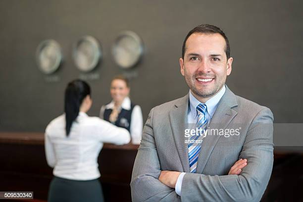 Proud hotel manager