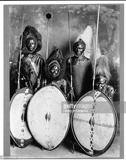 Proud Masai warriors with their shields and spears