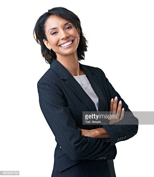 proud of her corporate acumen - white background stockfoto's en -beelden