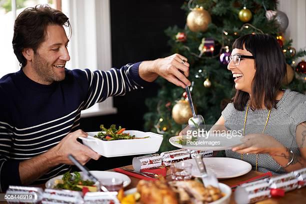 Orgulloso de su almuerzo de Navidad