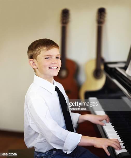 proud of his musical progress - wonderkind stockfoto's en -beelden