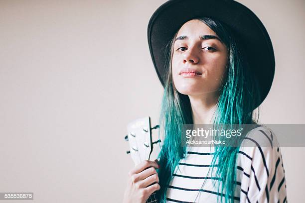 proud on my music - green hair stock pictures, royalty-free photos & images