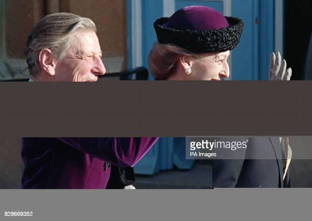 Proud parents Princess Alexandra and Sir Angus Ogilvy at the wedding of their daughter Marina to Paul Mowatt at St Andrews parish church