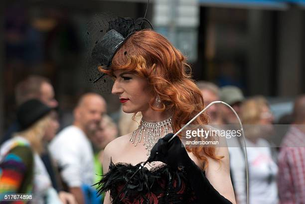 proud transvestite in the stockholm pride parade - beautiful transvestite stock photos and pictures