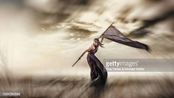 proud young woman waving a banner under a cloudy sky - flag bearer stock pictures, royalty-free photos & images