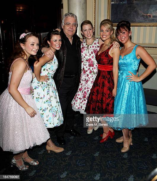 Proudcer Bill Kenwright poses with cast members Samantha Dorrance Clare McGarahan Emily O'Keeffe Susannah Allman and Hannah Frederik pose in the...