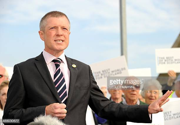 Prounion Leader for the Scottish Liberal Democrats Willie Rennie addresses supporters and journalists in Edinburgh Scotland on September 9 ahead of...