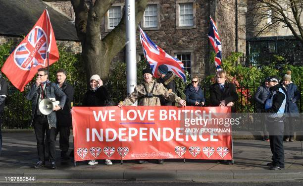 Pro-Union supporters host a counter-demonstration during an anti-Conservative government, pro-Scottish independence, and anti-Brexit demonstration...