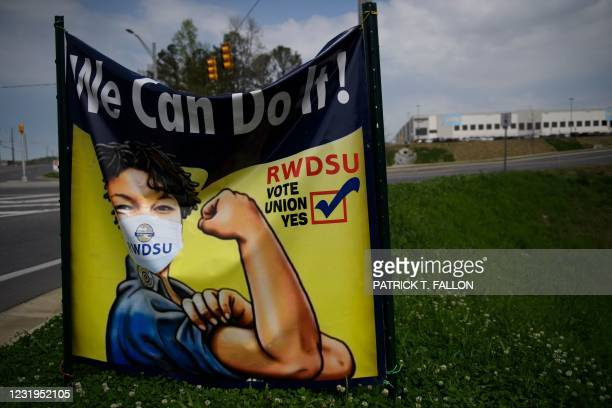 Pro-Union voting signage hangs outside the Amazon.com, Inc. Fulfillment center in Bessemer, Alabama on March 26, 2021. - Senator Bernie Sanders...