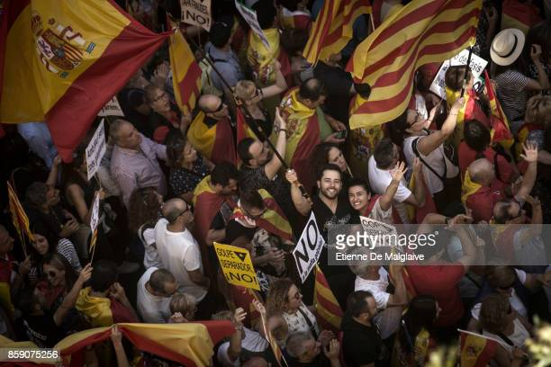 ProUnity rally marches through Barcelona in response to last Sundays disputed referendum on Catalan independence on October 8 2017 in Barcelona Spain...
