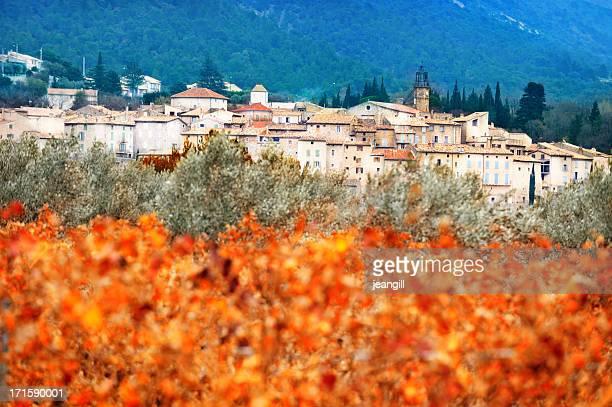 provenzal village detrás de otoño vineyard y los olivos - provenza alpes costa azul fotografías e imágenes de stock