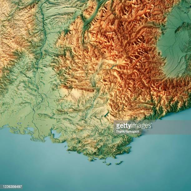 provence alps cote d'azur 3d render topographic map color - frank ramspott stock pictures, royalty-free photos & images
