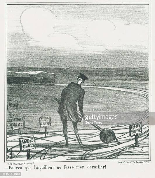 Provided that the switchman lets nothing derail, from 'News of the day,' published in Le Charivari, January 22 'News of the day' , Honore Daumier ,...