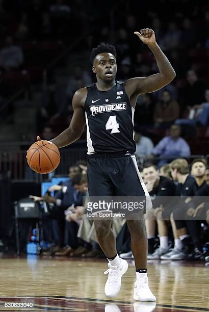 Providence College guard Maliek White calls the play during an NCAA division 1 men's basketball game between the Boston College Eagles and the...